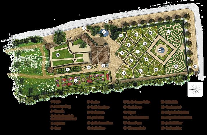 Plan du château et description des différents jardins