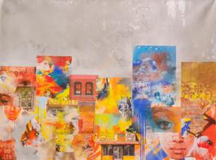 "Lance Johnson, ""Da Block,"" mixed media on canvas (inspired by Romare Bearden)"