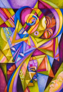 "Cedric Michael Cox, ""Mystic Rhythms,"" acrylic on archival board (inspired by Lois Mailou Jones)"