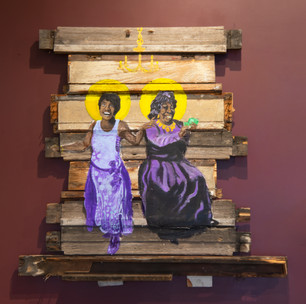 """TC Flowers, """"Ain't Nobody's Business if I Do,"""" mixed media installation (inspired by Bessie Smith and Ma Rainey)"""