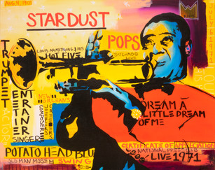 """FEALART, """"Louie Pops,"""" acrylic on canvas (inspired by Louis Armstrong)"""