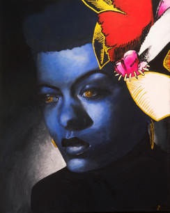 """Asmara Abraham, """"Lady Day in Blue,"""" acrylic and gouache on canvas (inspired by Billie Holiday)"""