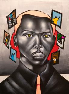 "Ike Slimster, ""Hueman,"" acrylic on canvas (inspired by Jacob Lawrence)"