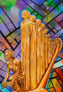 """Cherie Garces, """"HARP of Augusta,"""" acrylic on canvas (inspired by Augusta Savage)"""