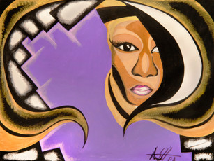 """Paris Abstract, """"Purple Collar,"""" acrylic on canvas (inspired by James Lesesne Wells)"""