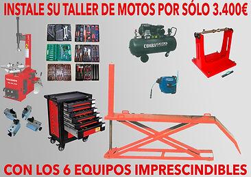 Mesa elevadora motos, desmontadora de ruedas, compresor, carro de herramientas.