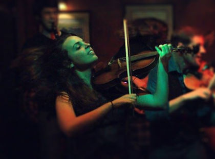 Carly Meloche playing fiddle in CrossBow at Conor O'Neill's Irish Pub in Ann Arbor Michigan