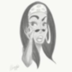 Caricature of R&B singer Aaliyah.