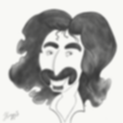Caricature of rock and roll star Frank Zappa