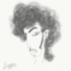 Caricature of singer Prince, aka The Artist Formerly Known as Prince