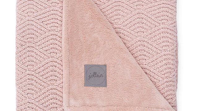 Jollein Deken 75x100cm River Knit Pale Pink/Coral Fleece