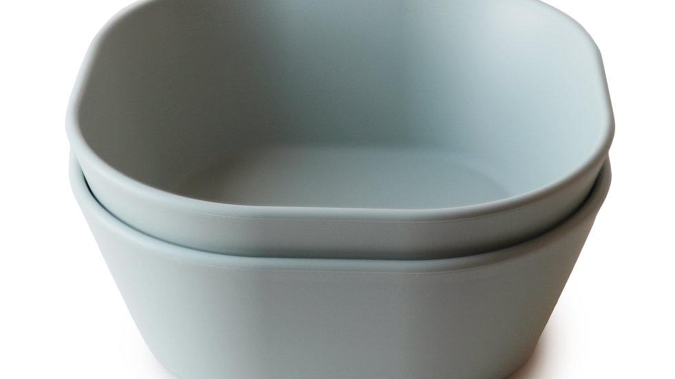 Mushie Set van 2 Bowl Square | Sage