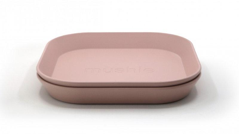 Mushie Set van 2 bordjes Square Blush