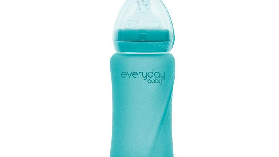 EverydayBaby glazen fles heat sensing 240ml Turquoise