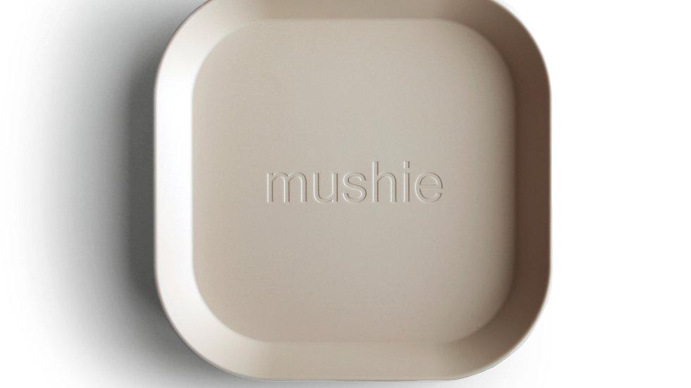 Mushie Set van 2 bordjes Square Ivory