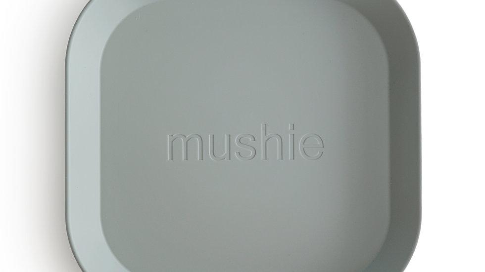 Mushie Set van 2 bordjes Square Sage