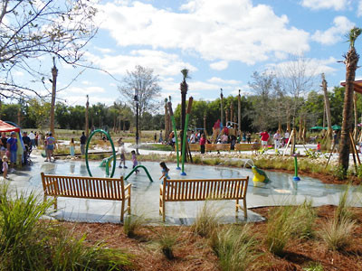 The Swamp water play area was created with a $150,000 grant from Palm Beach County. Many other park features were created with through a $200,000 grant from the Land and Water Conservation Fund from the Florida Department of Environmental Protection. Several individual donors helped provide funding for other park play features including the curved balance beam.