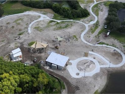 Aerial photo of construction.
