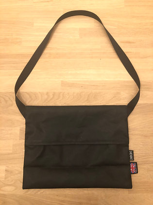 Commuter's Musette in Black Waxed Cotton