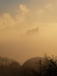 abendlicher Nebel vor der Elphi