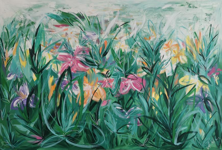 The lovely world of flowers / 140x95 cm