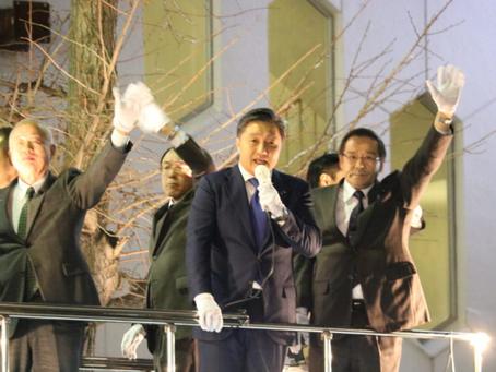 北朝鮮拉致問題の早期解決を訴えるため、街頭演説を行いました。