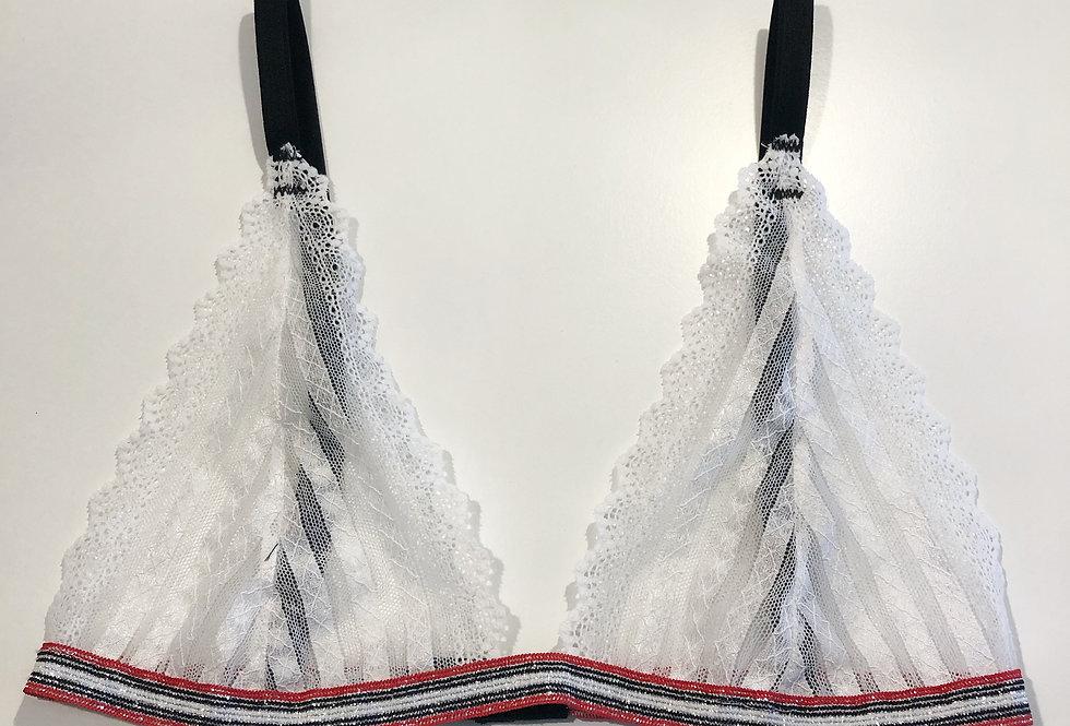 Bralette White and Black Stripes