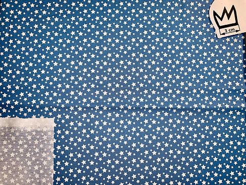 Baumwolle Sternchen Blau Weiss