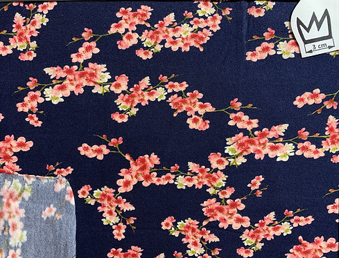 French-Terry Kirschblüten blau