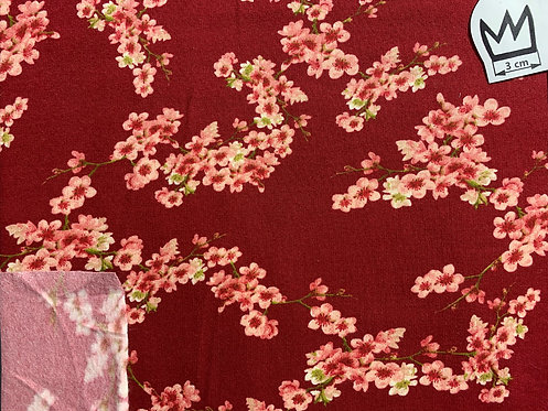 French-Terry Kirschblüten rot