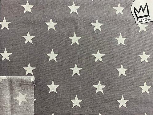 Baumwolle Grau mit Weissen Sternen