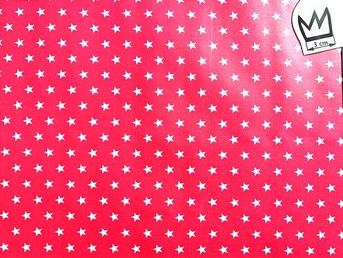 Beschichtete Baumwolle weisse Sterne auf pink