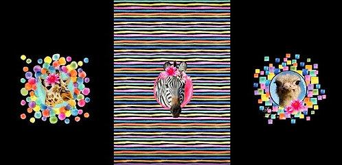 Panel Jersey Zebra, Giraffe, Strauss