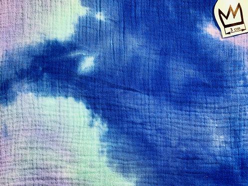 Musselin Batik Hellblau Blau