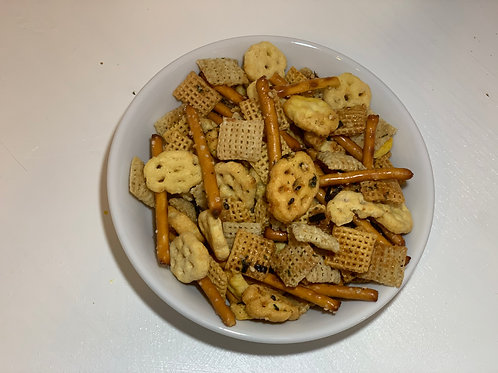 Furikake Chex mix loose in a white bowl