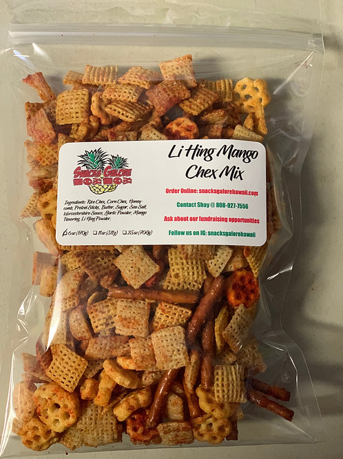 Clear bag of Li Hing Mango Chex Mix with Snacks Galore Hawaii label
