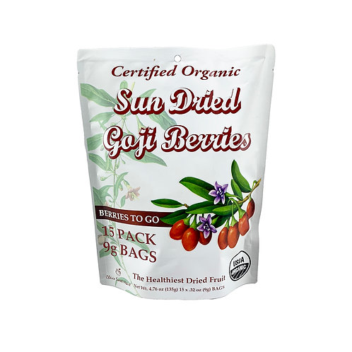 4.76 oz Organic Dried Goji Berries, or Wolfberries, Front View