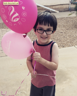 Pink balloons for his grandparents.