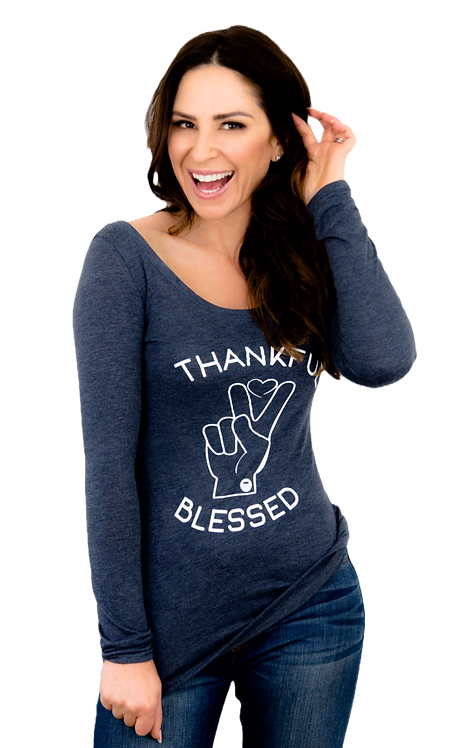 Thankful Tri-blend Long Sleeve Scoop Tee