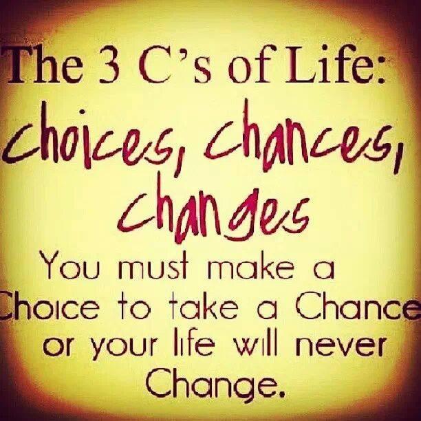 Choices, Chances, Changes....