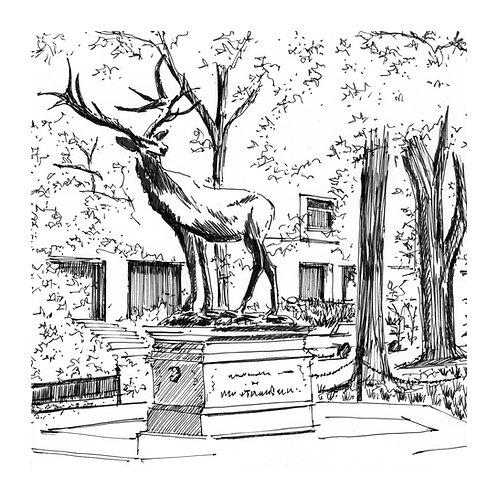 Elk Sculpture - Art Print