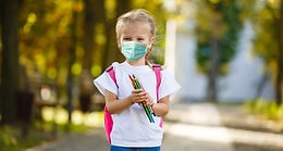 Girl in school uniform with air pollutio