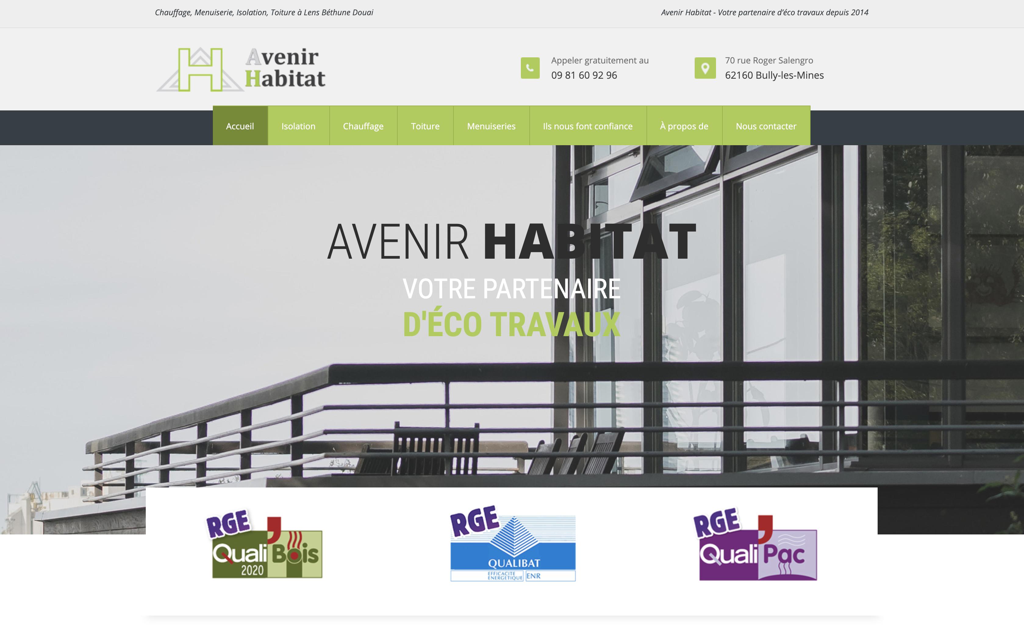 Création site responsive web design Avenir Habitat