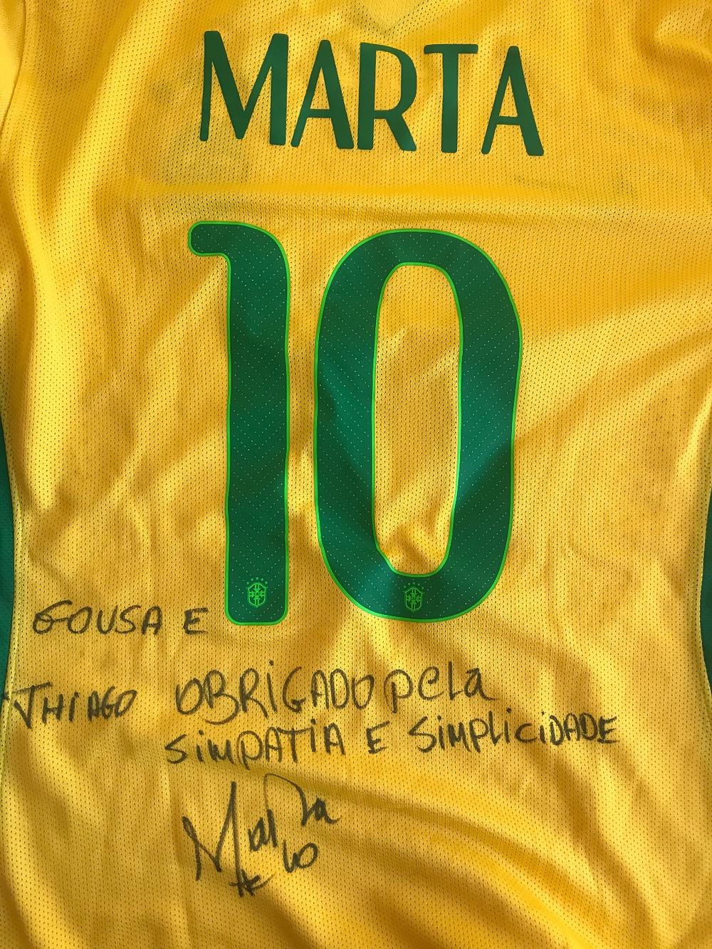 Camisa presenteada pela Marta à empresa GO USA durante as Disney Cup 2017
