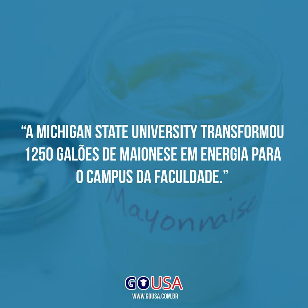 A Michigan State University transformou 1250 galões de maionese em energia para o campus da faculdade