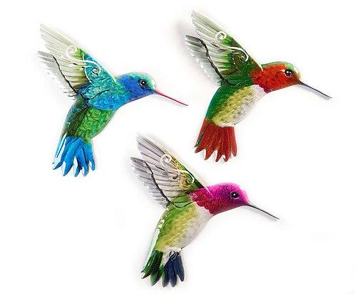 Painted iron hummingbird wall art hummingbirds in flight with wings back