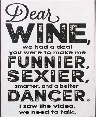 Dear Wine Metal Sign