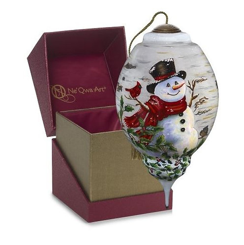 Winter Birch Snowman Ornament