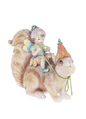 Fairy riding squirrel figure