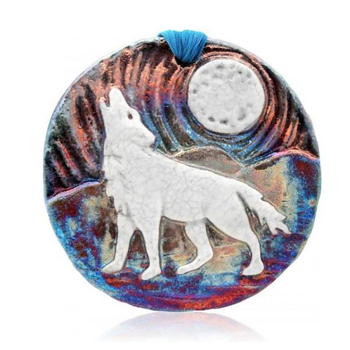 Raku Medallion - Wolf